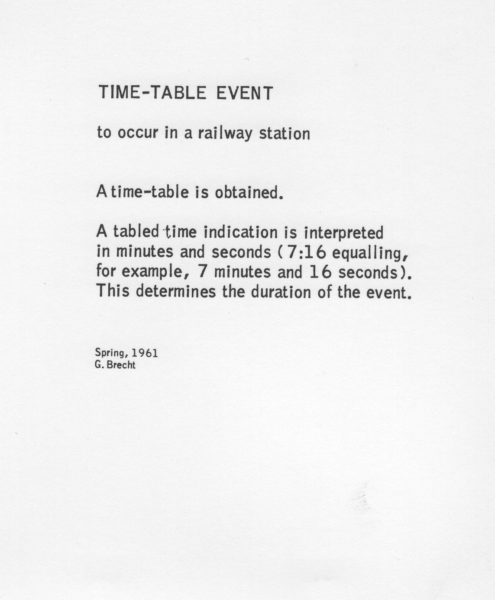 George Brecht - Timetable Event