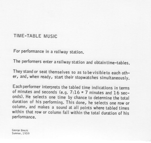 George Brecht - Timetable Music